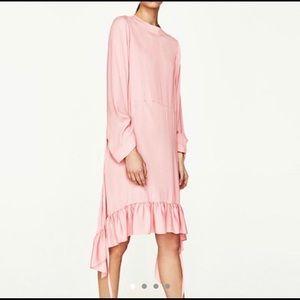 Zara Long Sleeve Frill Hem Midi Dress
